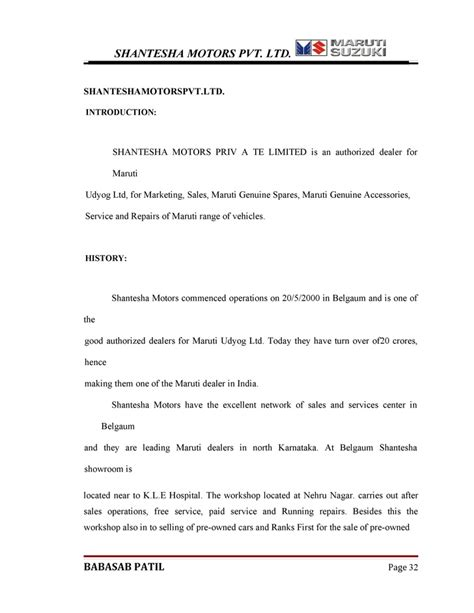 Maruti Suzuki Mba Project by Buying Behavior Of Customers Maruthi Suzuki Mba