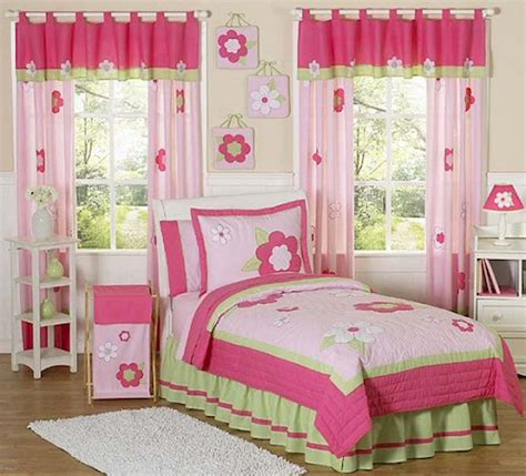 Floral pink amp green bedding twin or full queen kids comforter sets for