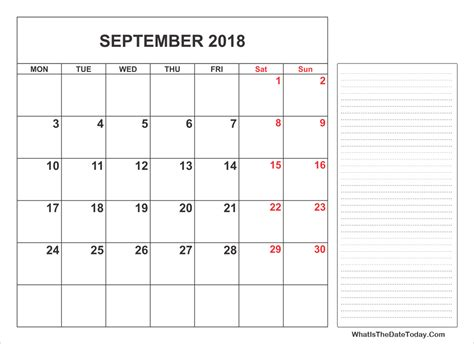 printable monthly calendar with space for notes 2018 printable september calendar with notes