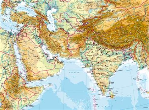 south central asia physical map maps west and south asia physical map diercke