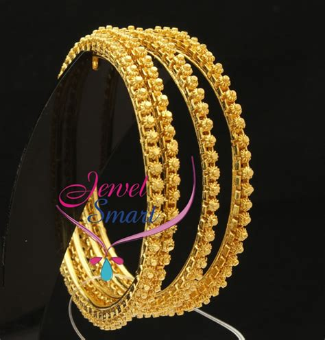 Handmade Gold Bangles - b2076m 2 6 size 4 pieces set bangles real look handmade