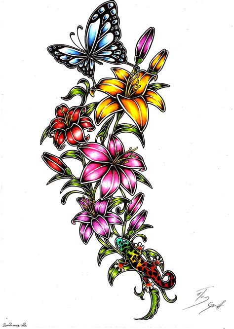 blooming flower tattoo designs flowers design by taygriff on deviantart