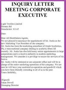 Inquiry Letter For Marketing Inquiry Letter Meeting Corporate Executive Business Letter Exles