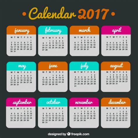 Calendario 2017 Colombia Vector Calendario De 2017 De Colores Descargar Vectores Gratis
