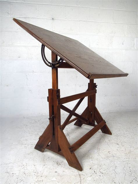 Antique Oak Drafting Table Vintage Rustic Oak Drafting Table At 1stdibs