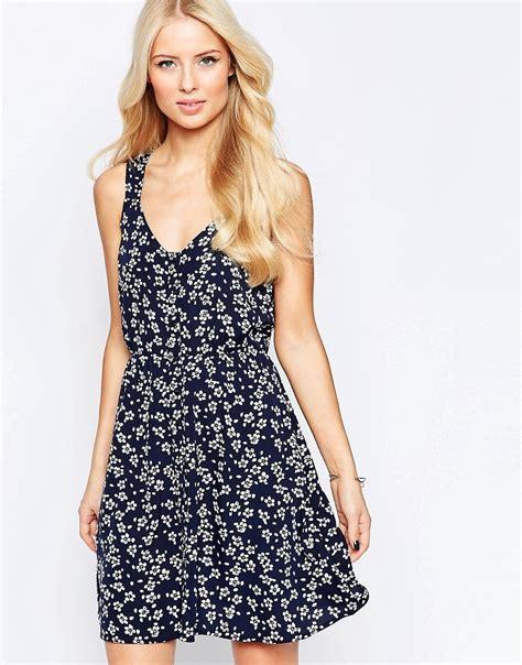 Iska Cape Dress 1 button through sundress in ditsy print by iska navy