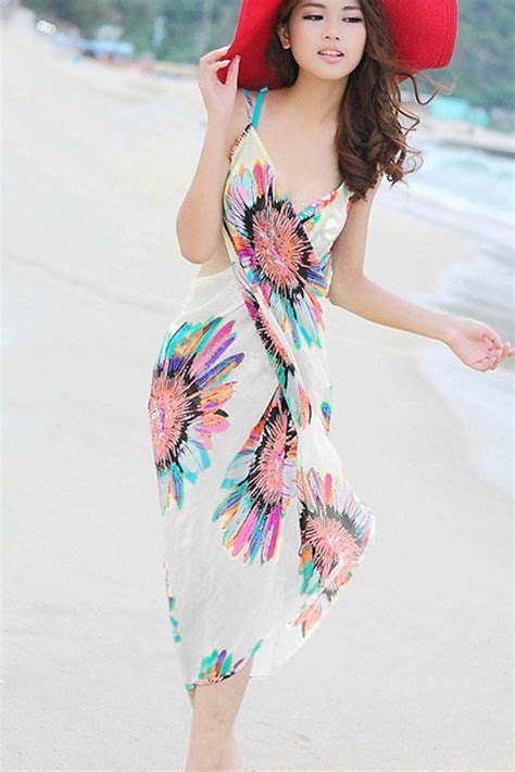 Set Floral Cover Up Dress white floral print backless cover up swimsuit