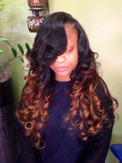 ombr 233 weave with side part hair