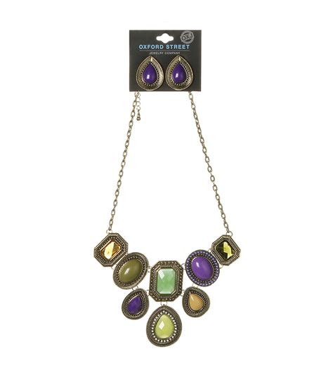 joann jewelry oxford jewelry co multicolor gem necklace w