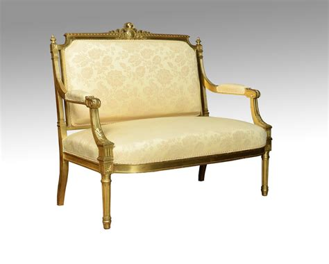 two seater settees french louis xvi style giltwood two seater settee