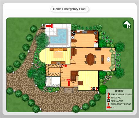 home disaster plan conceptdraw sles floor plan and landscape design