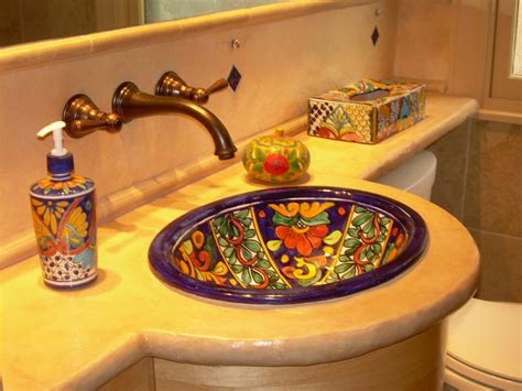 Rustic Composite Countertop In Mexican Style Bath Mexican Bathroom Accessories