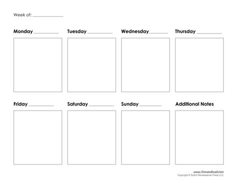 Calendar 7 Day Template Printable Weekly Calendar Template Free Blank Pdf