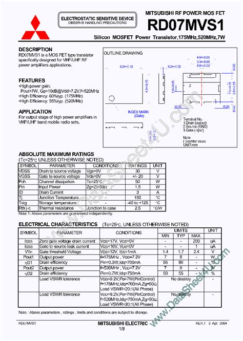 Rd07mvs1 Rd07mvs1 450715 Pdf Datasheet Ic On Line
