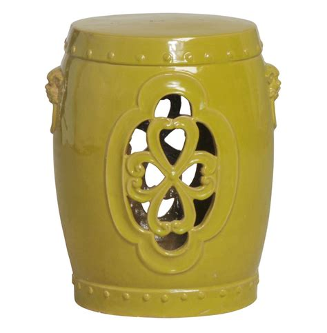 Greenish Yellow Stool green yellow pierced clover ceramic garden stool