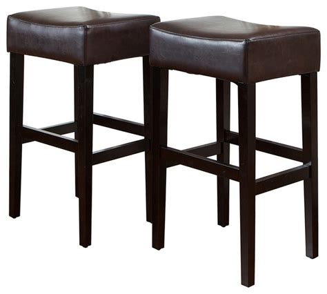 Brown Stools by Duff Backless Brown Leather Bar Stools Set Of 2