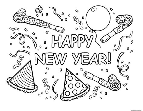 Free New Year Coloring Pages free coloring pages of new year card