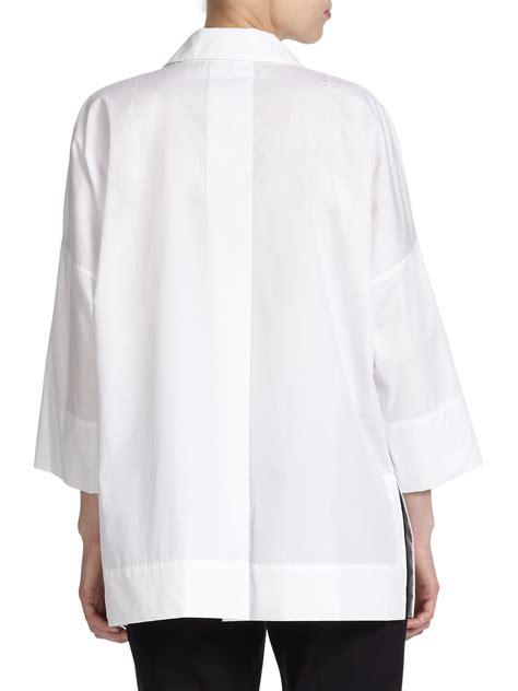 Tunic Blouse lyst escada cotton tunic blouse in white