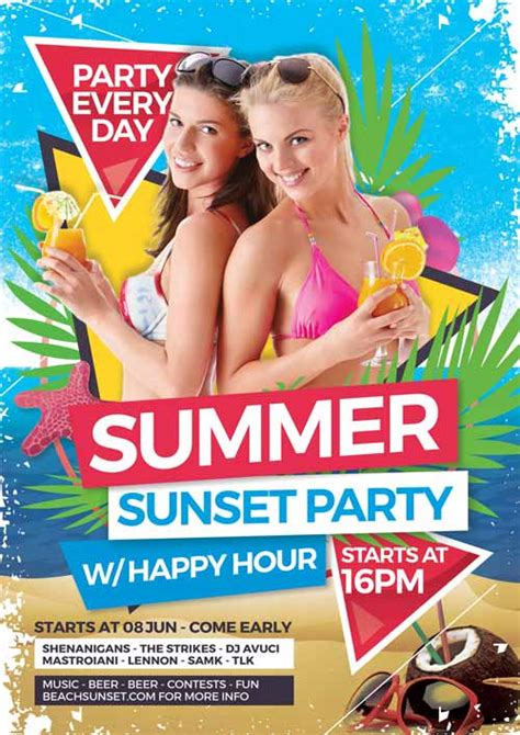 Download the Summer Sunset Party Free Flyer Template