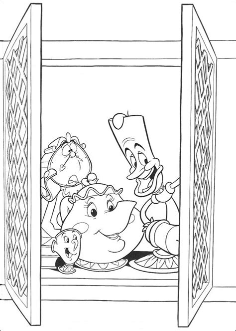 beauty and the beast teapot coloring pages coloring page beauty and the beast teapot candle and