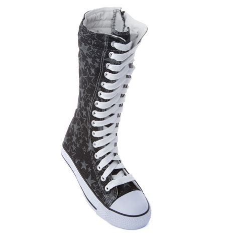 knee high top lace up boot sneakers shoe canvas