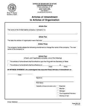 Fillable Online Sos Ga Sos Ga Fax Email Print Pdffiller Articles Of Amendment Template