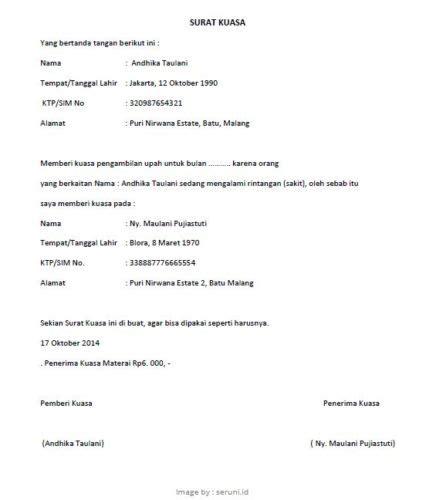 format surat kuasa ptun contoh surat kuasa pengambilan gaji 187 pandaibesi com