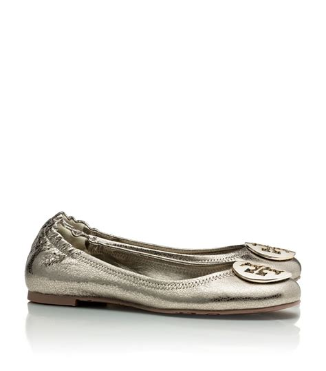 metallic flat shoes burch metallic reva ballet flat in silver metal