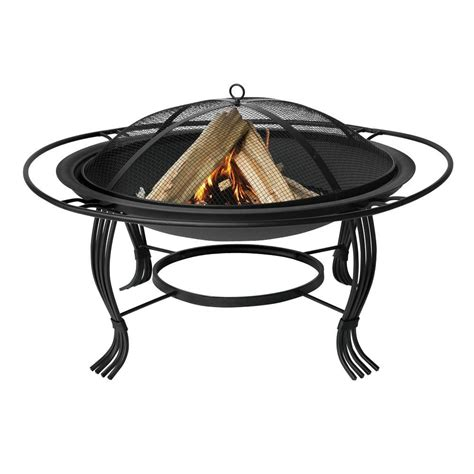 Uniflame Firepit Uniflame 30 In Black Pit With Outer Ring Wad1050sp The Home Depot