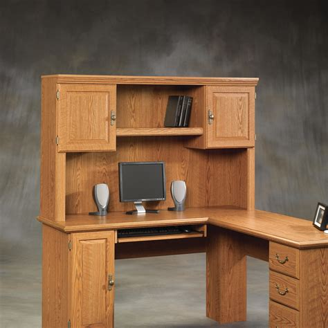 Solid Wood Computer Desk With Hutch Sauder Harvest Mill Solid Wood Computer Desk With Hutch