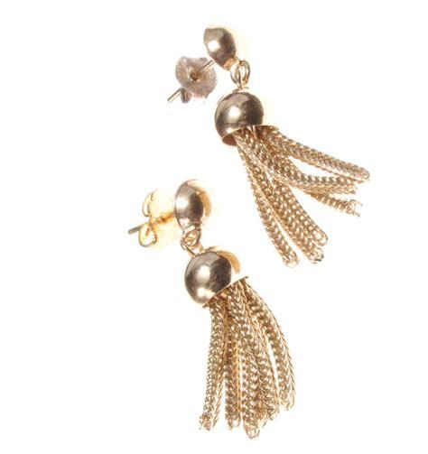 Tassel Drop Earrings 9ct gold drop tassel earrings