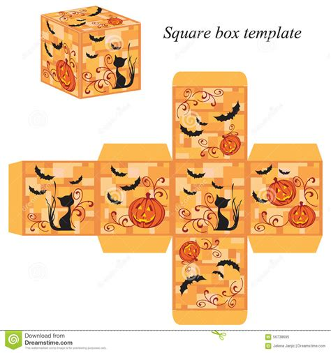halloween box template with pumpkin black cat and bats