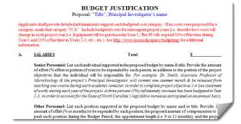 budget justification template budgeting office of contracts and grants