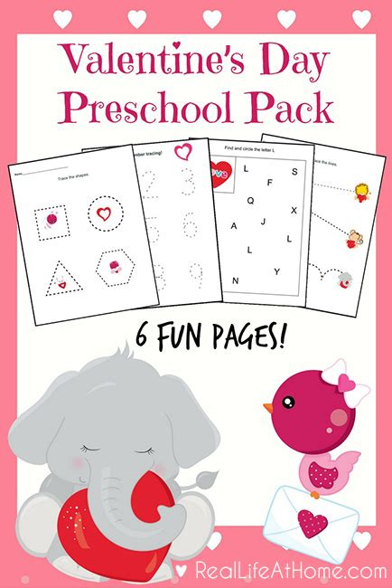six page packet s day printables for preschoolers