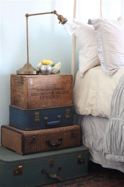 Vintage Suitcase Nightstand 17 apart diy decor stacked vintage suitcase nightstand