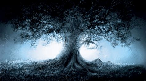 wallpaper hd 1920x1080 art lonely tree in a dark forest wallpaper 4233944 1920x1080