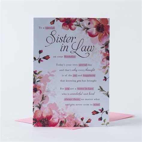 Birthday Card   Sister in Law Flowery   Only 89p