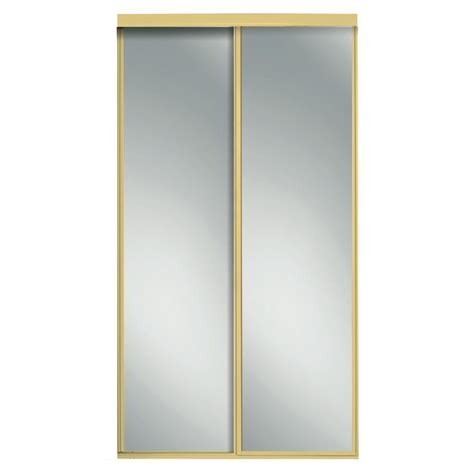 Beveled Mirror Sliding Closet Door Impact Plus 48 In X 80 In Beveled Edge Backed Mirror Aluminum Frame Interior Closet Sliding