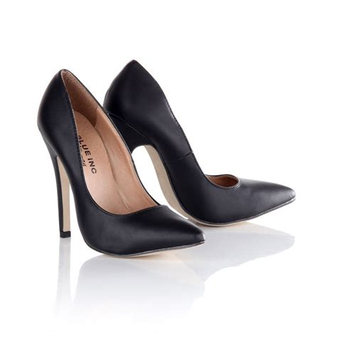s black plain pu court high heel shoes