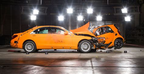 smart car collision test quot real safety quot philosophy crash test against s class