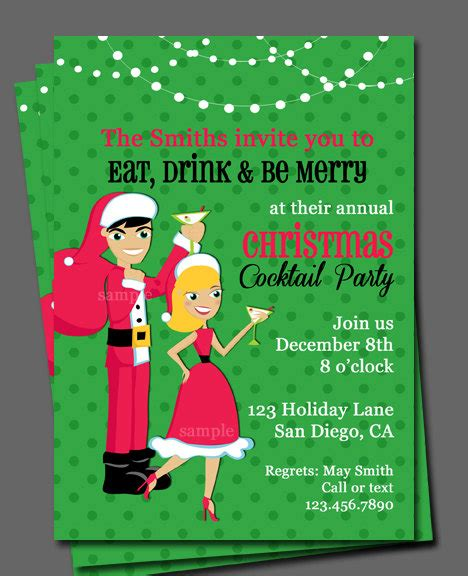 christmas cocktail party invitation printable or printed with