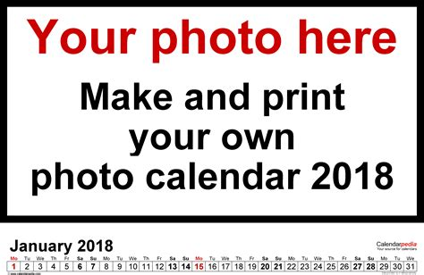 make photo calendar free 2018 photo calendar 2018 free printable excel templates