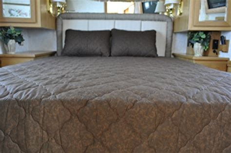 solid color coffee brown short queen rv bedspread 3 pc set