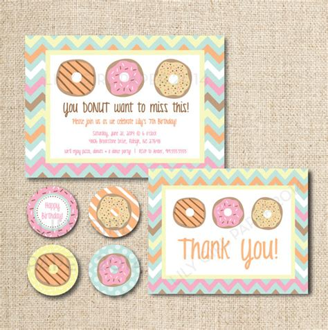 Donut Doughnut Birthday Party Invitation Set Custom Printable File By Lily Girl Paper Donut Invitation Template