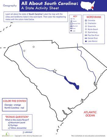 Carolina Worksheets by South Carolina Geography Geography Worksheets And