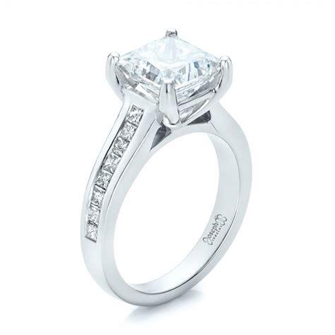 custom channel set princess cut engagement ring