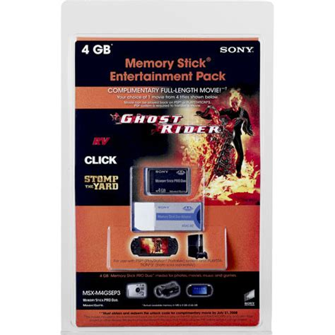 Memory Stick Pro Duo Sony 4gb sony 4gb memory stick pro duo entertainment pack msxm4gsep3 b h