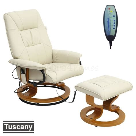 Tuscany Real Leather Cream Swivel Recliner Massage Chair W Real Leather Recliner Swivel Chairs