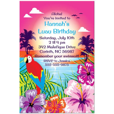 card template hawaian birthday luau invitation templates invitation template