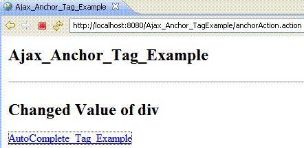 div value exle of anchor ajax in struts2 2 1